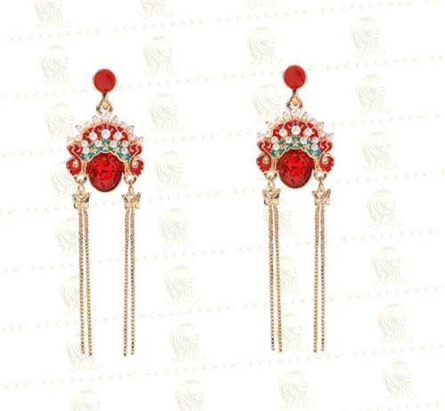 Chinese Style Palace Beijing Opera Facial Makeup Ethnic Style Tassel Retro Long Earrings