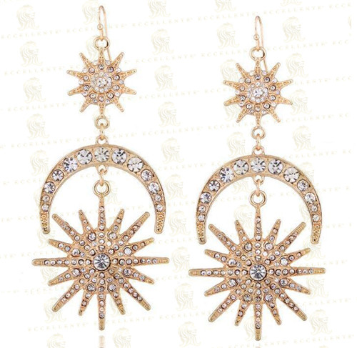 Hot Sale New Fashion Exaggerated Sun Moon Alloy Earrings