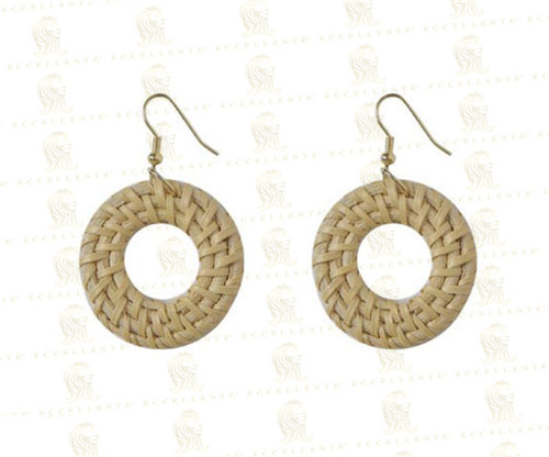Retro Exaggerated Geometric Circular Rattan Woven Long Holiday Wooden Stitching Bamboo and Rattan Straw Earrings