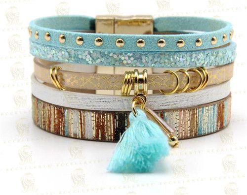 2020 Explosive Bohemian Style Leather Cord Bracelet Mix and Match Tassel Magnet Clasp Leather Ladies Jewelry Bracelet
