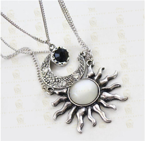 Retro Sun Moon Multilayer Sweater Chain Necklace Women