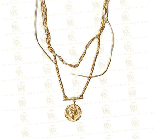 S925 Sterling Silver Queen Head Round Medal Multi-Layer Exaggerated Necklace Female Clavicle Chain