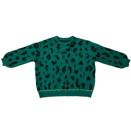2021ss New Arrival Lazy Style Green Leopard Print Round Neck Lantern Sleeve Loose Silhouette Pullover