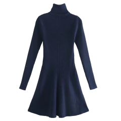 2021ss New Arrival Ladies Knit High Collar Tight Dress