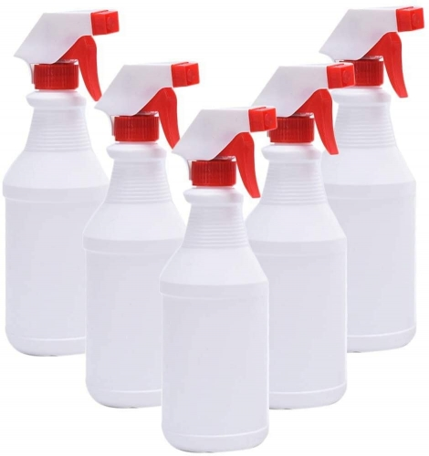 500ml / 16.9 Oz Empty Plastic Leak-Proof Fine Mist Spray Bottle For Chemicals, Household Cleaners, Irrigation(5Pcs)