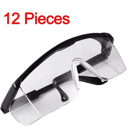 12Pcs Safety Glasses Adjustable Full View Over-Glasses For Glasses Wearers (Black)