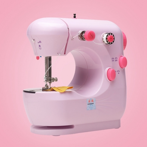 Desktop Portable Household Sewing Machine, Multifunctional Mini Electric Craft Sewing Machine for Beginners (Pink)