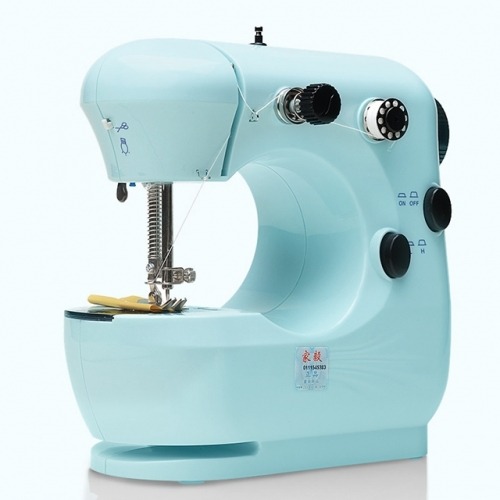 Household Sewing Machine Desktop Portable, Multifunctional Mini Electric Craft Sewing Machine for Beginners (Blue)