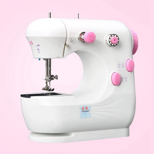 Household Sewing Machine Desktop Portable, Multifunctional Mini Electric Craft Sewing Machine for Beginners (White&Pink)