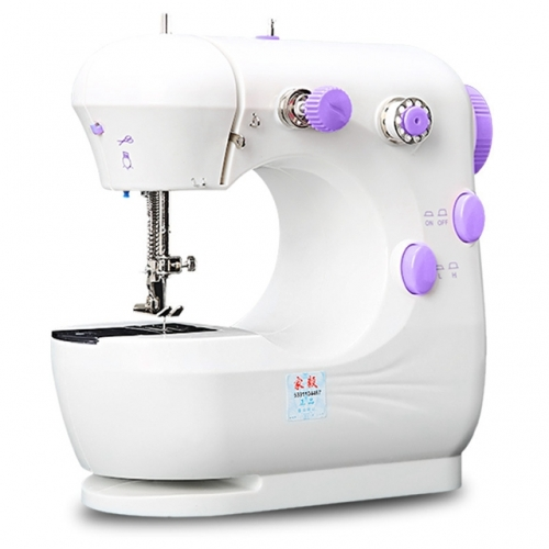 Household Sewing Machine Desktop Portable, Multifunctional Mini Electric Craft Sewing Machine (White&Purple)