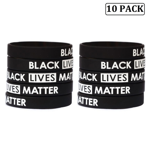 10-pack Black Lives Matter Silicone Wristbands Bracelets Awareness Support