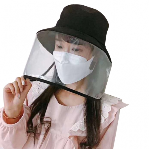 Black Women's Summer Hat Bucket Foldable Hat With Transparent Face Protection Beach Safari Hiking Bow, Wide Brim, Anti-Uv Hat