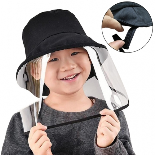 Children's Summer Anti-Uv Hat Bucket Foldable Hat With Transparent Face Protection