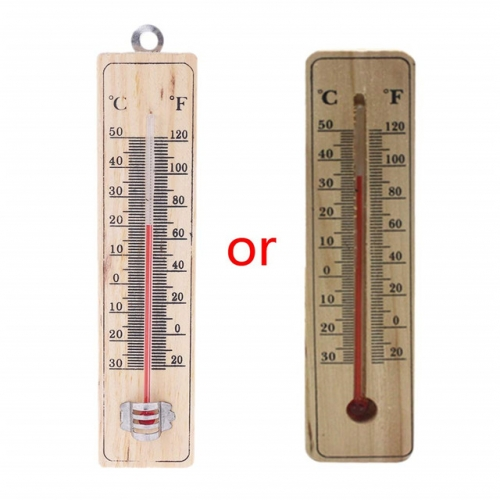 Traditional Wall Hang Wooden Thermometer for Indoor Outdoor Garden Kitchen Sauna Office Decoration
