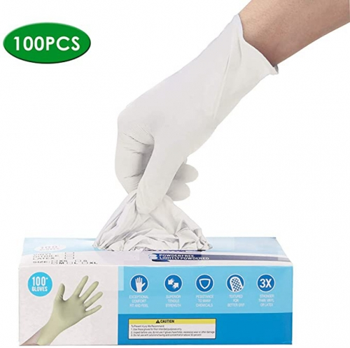 50 Pairs Of Disposable Nitrile Gloves, Latex-Free, Powder-Free, White Medical Examination Gloves