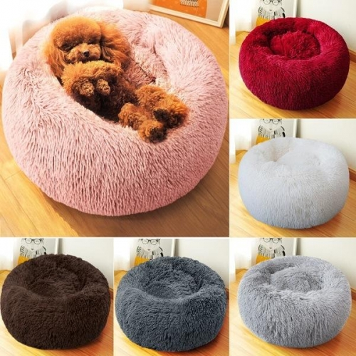 Soft Fluffy Dog Cat Bed Round Plush Pet Sleeping Bed