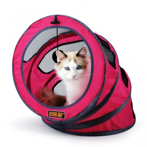 Foldable Storage Spiral Pet Cat Tunnel House Toys, Funny Pet Cats Training Toy