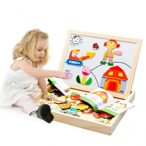 Fantastic Wooden Magnetic Easel Doodle Drawing Board Puzzle Children's Toy