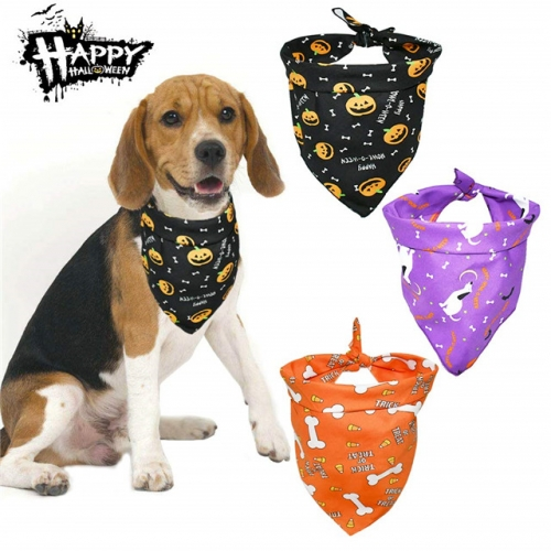 3 Pcs Dog Halloween Bandanas, Pumpkin Pattern Scarves for Puppy