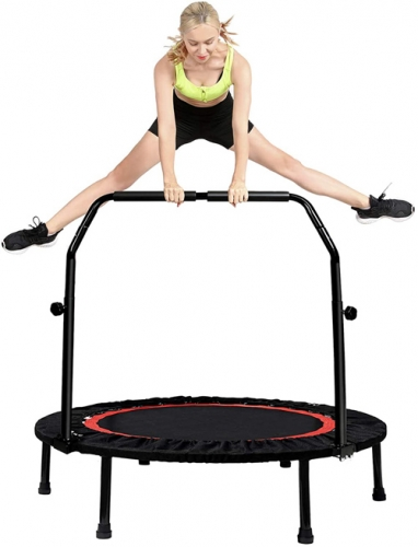 "40"" Folding Mini Trampoline for Kids Fitness Rebounder with Adjustable Foam Handle Outdoor Indoor Trampoline for Kids and Adults"
