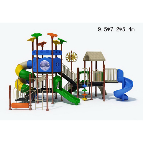 new design children outdoor playground with spirality slide, climbing and swing
