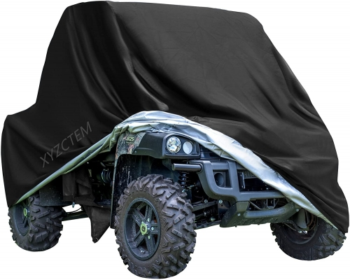 "XYZCTEM UTV Cover with Heavy Duty Black Oxford Waterproof Material, 114.17"" x 59.06"" x 74.80"" (290 150 190cm) Included Storage Bag. Protects UTV From"