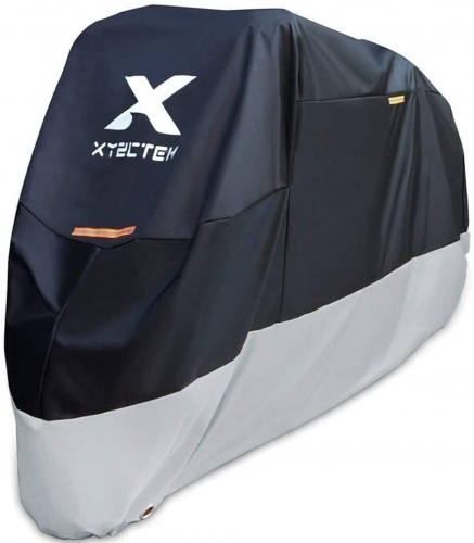 XYZCTEM Motorcycle Cover – All Season Black Waterproof Outdoor Protection – Fit for 108 inch Tour Bikes, Choppers and Cruisers – Protect Against Dust,