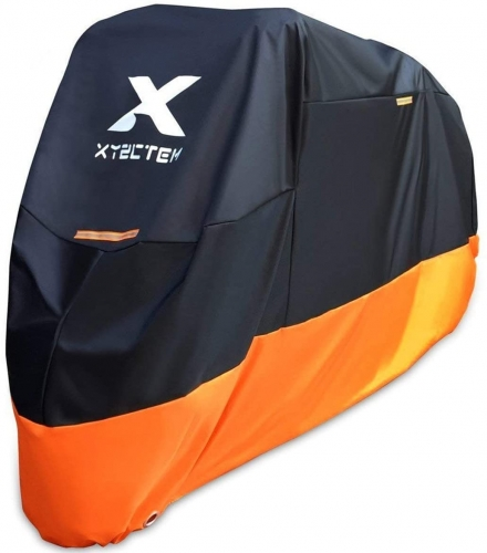 XYZCTEM Motorcycle Cover – All Season Waterproof Outdoor Protection – Fit up to 116 inch Tour Bikes, Choppers and Cruisers – Protect Against Dust, Deb