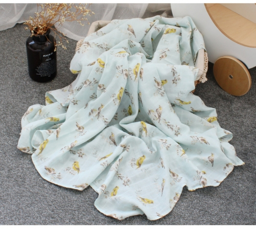 Organic cotton double gauze Small Square Grid Blanket