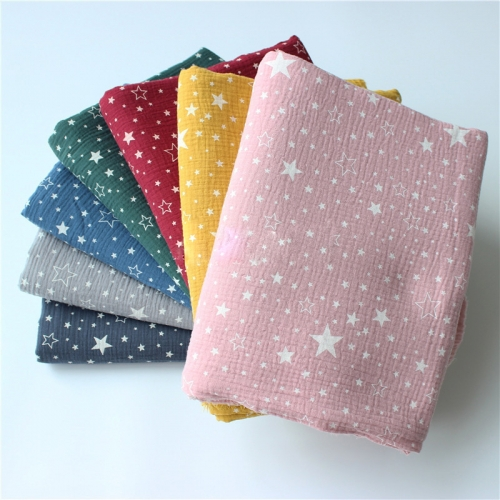 Organic cotton printed muslin baby fabric all star