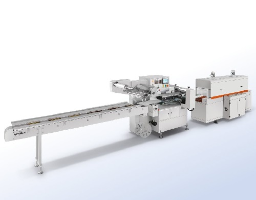 Horizontal flow shrink wrapping machine for food and grocery SW-F01