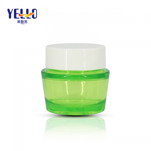 Green Color PET Plastic Cosmetic Cream Jar With Strong Sealing , Face Cream Container