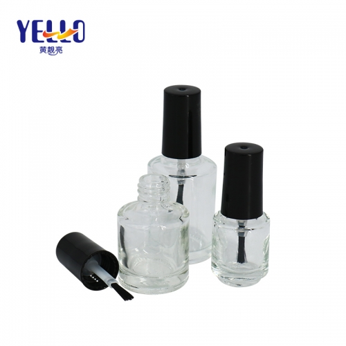 Customized Round Clear Glass Nail Polish Container 5ml 10ml 15ml With Brush Lid