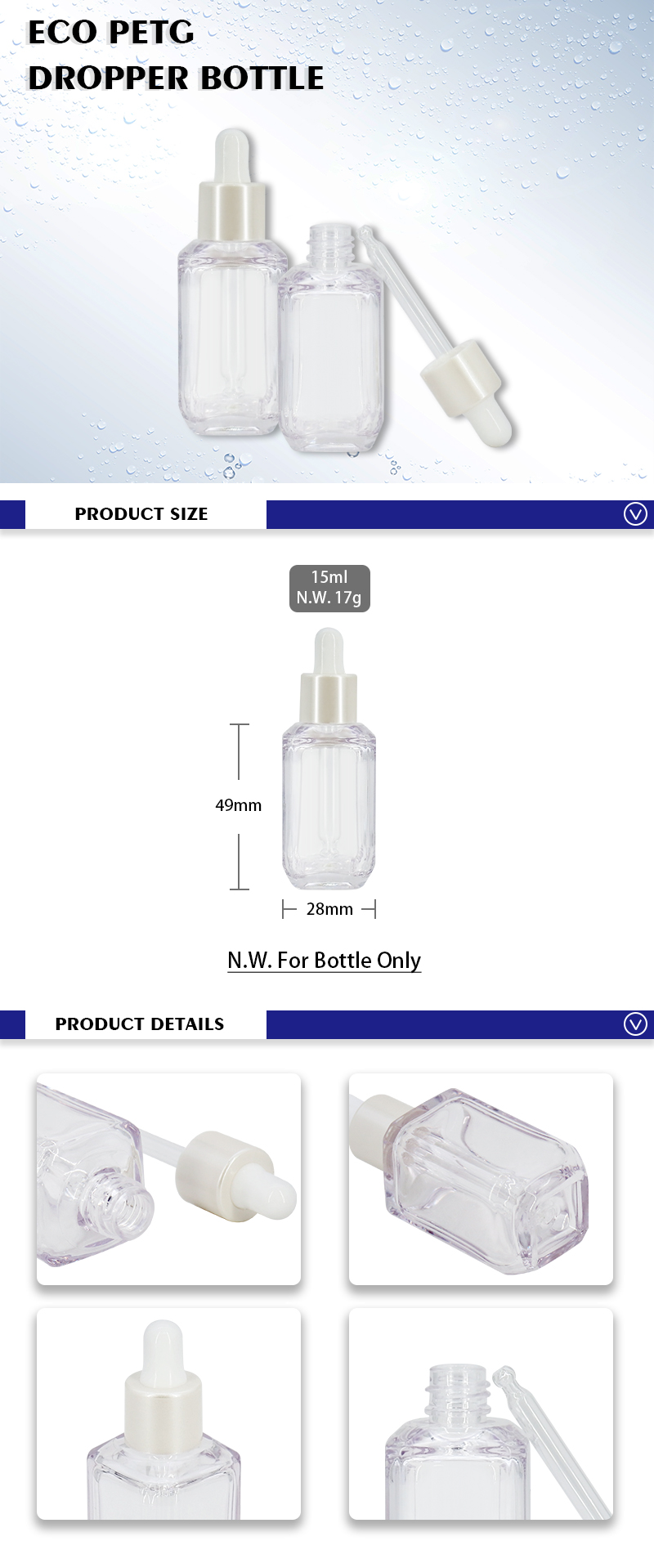 15ml mini Square Serum Bottles with Glass dropper , Transparent Essence Dropper Bottles