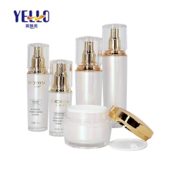 White Luxury Acrylic Lotion Bottle 30ml 50ml 80ml 100ml With Gold Pump