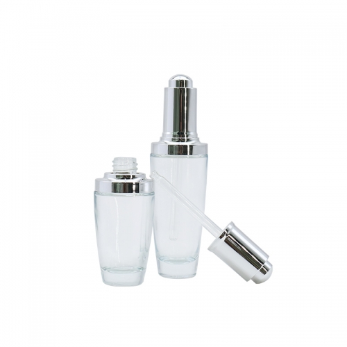 Silver Cap Dropping Bottles , Hair Essence Oil Glass Dropper Bottles Wholesale