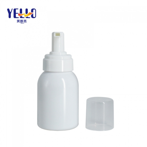 White PET Foam soap Bottles , Round Plastic Foaming Bottles Wholesale