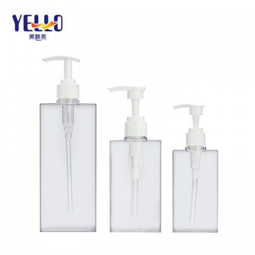 200ml 300ml 500ml Clear Plastic Pump Bottles / Square Shampoo Bottle Wholesale