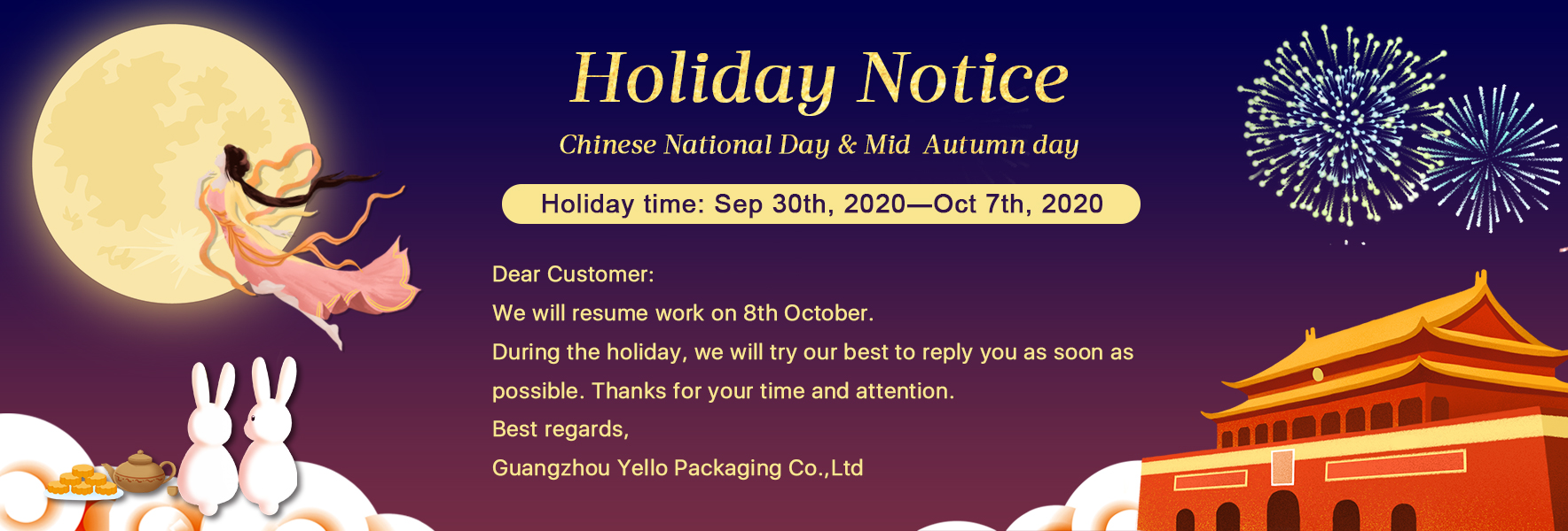 Holiday Notice - Chinese National Day & Mid Autumn Day