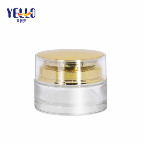 50g Face Cream Cosmetic Containers / Luxury Glass Cosmetic Jars For Cream