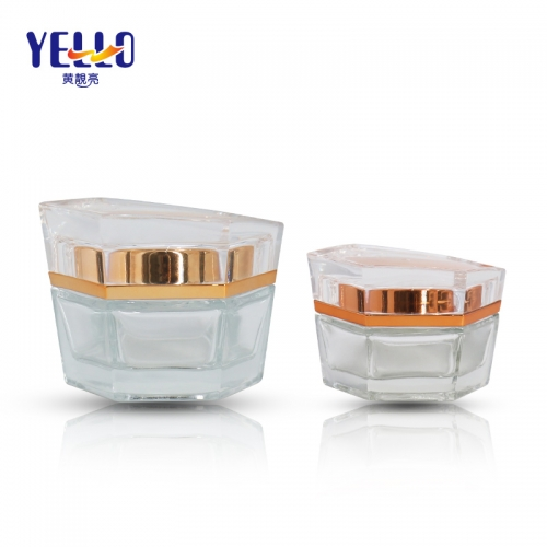20g 50g Luxury Unique Glass Cosmetic Jars For Skincare Cream​​​​​​​