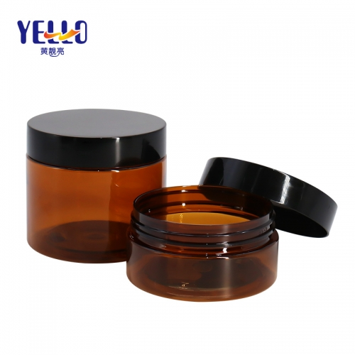 100g 250g Amber Plastic Cosmetic Jars / Empty Body Cream PET Jars Paste Pot