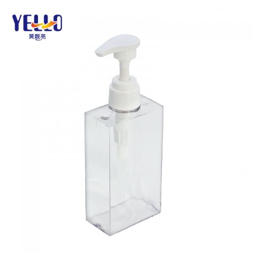 Clear Square Empty Lotion Bottles 200ml 300ml 500ml / PETG Clear Shampoo Shower Bottle