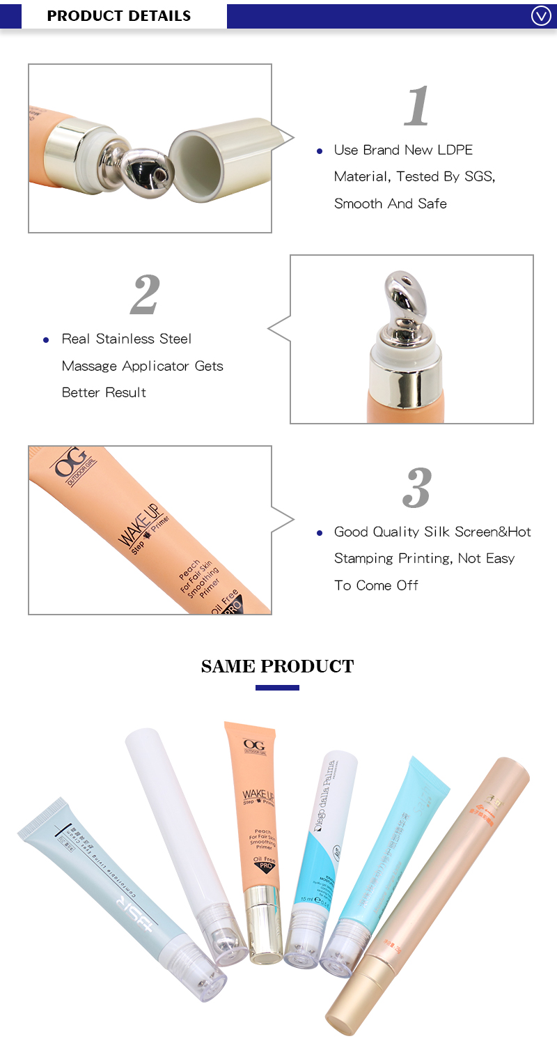 eye cream tube with roller ball