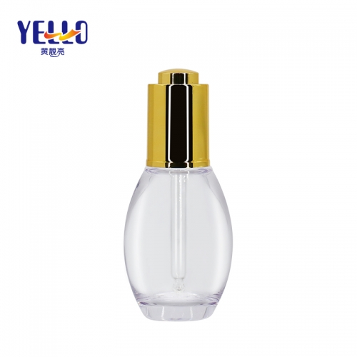 Unique Shape 40ml Empty Cosmetic Dropper Bottle With Gold Press Dropper