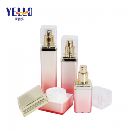High Luxury Square Cosmetic Lotion Bottle And Cream Jars , PMMA Plastic Empty Cosmetic Packaging