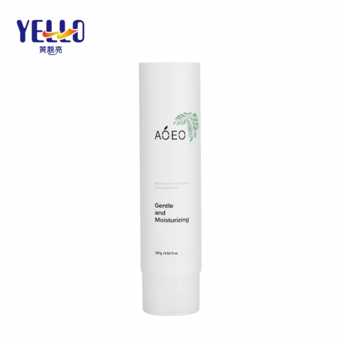 Round White 100ml 3.5oz Cosmetic Packaging Tube For Moisturizing Cleanser