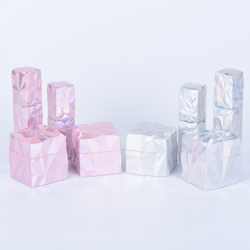 Luxury Pink Square Cosmetic Container Jars 40g 60g For Face Cream