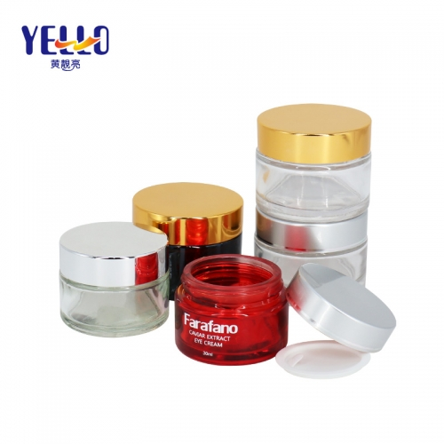 Classic Round 30g 50g Glass Cosmetic Jars With Gold Lid