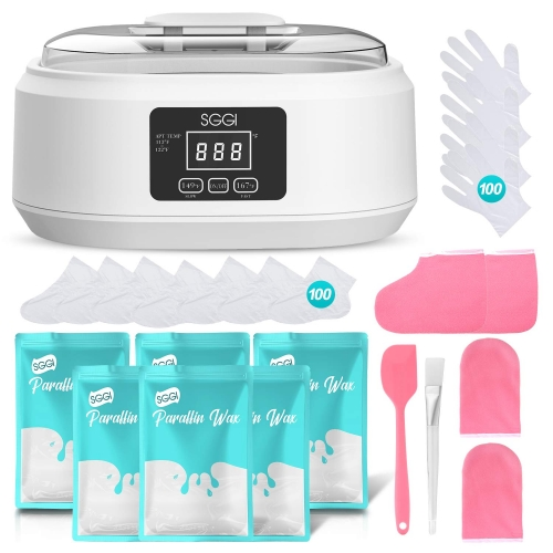SGGI Paraffin Wax Machine Touchable 3000ML Hand and Feet Paraffin Wax Bath Kit Mitts Gloves Silicone Scraper Silicone Brush 6 Packs of Wax 0.2KG Paraffin Bath Large Capacity Beauty at Home 14PCS White